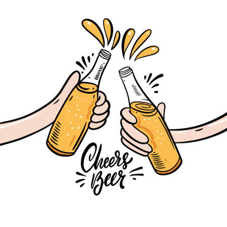 Cheers beer hand drawn colorful vector illustration. Cartoon style.