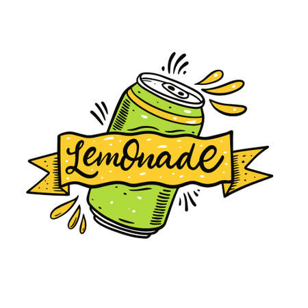 Hand drawn colorful lemonade in aluminium jar. Cartoon style vector illustration.
