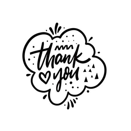 Thank you hand drawn black color lettering phrase. Motivation text. Stock Illustratie