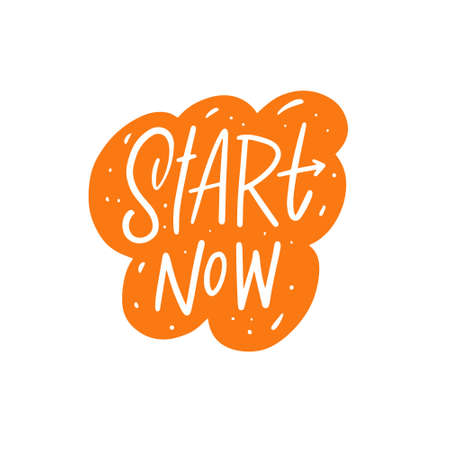 Start now hand drawn colorful lettering phrase. Motivation sport and business text. Stock Illustratie