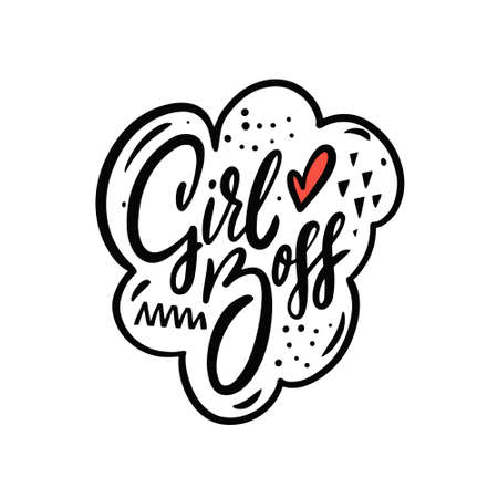 Girl boss hand drawn black color lettering phrase. Motivation text. Calligraphy vector illustration.