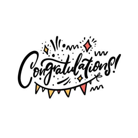 Congratulation hand drawn colorful lettering phrase. Celebration text. Stock Illustratie