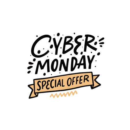 Cyber Monday special offer. Hand drawn colorful celebration text. Lettering phrase.