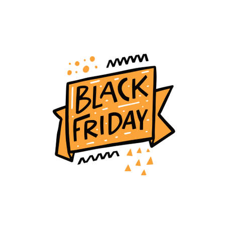 Black Friday. Hand drawn celebration lettering phrase. Colorful vector illustration.