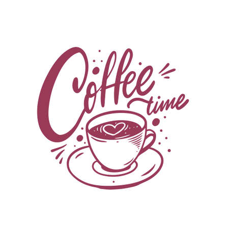 Coffee time calligraphy phrase and mug. Hand drawn vector illustration.