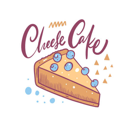 Cheese cake hand drawn colorful vector illustration. Cartoon style.