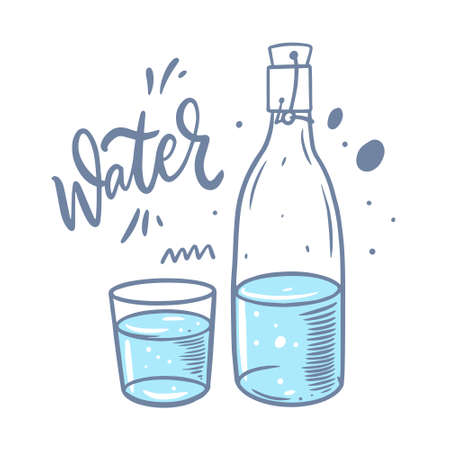 Hand drawn colorful water bottle and glass. Vector illustration cartoon style.