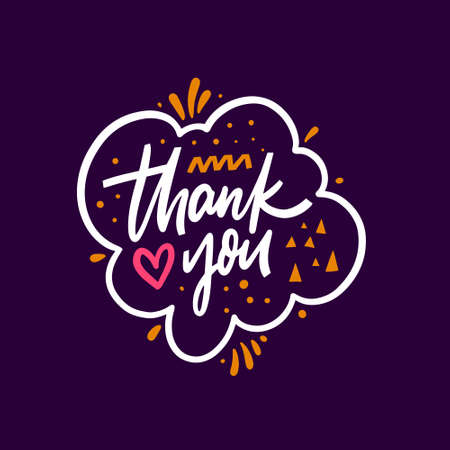 Thank you hand drawn colorful phrase. Modern lettering typography. Vettoriali
