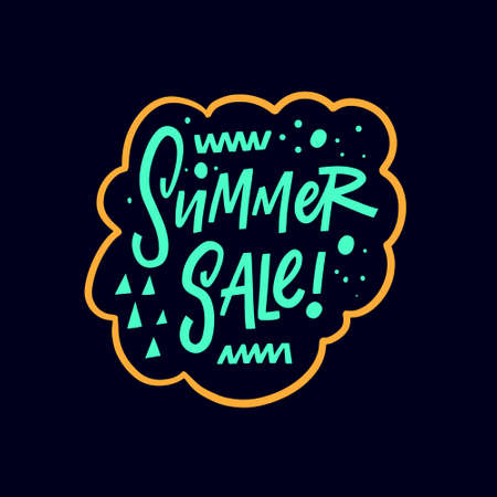 Summer sale. Hand drawn colorful lettering phrase. Yellow frame. Vector illustration.