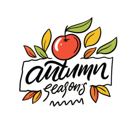 Autumn seasons hand drawn colorful holiday lettering phrase. Vector illustration. Vettoriali