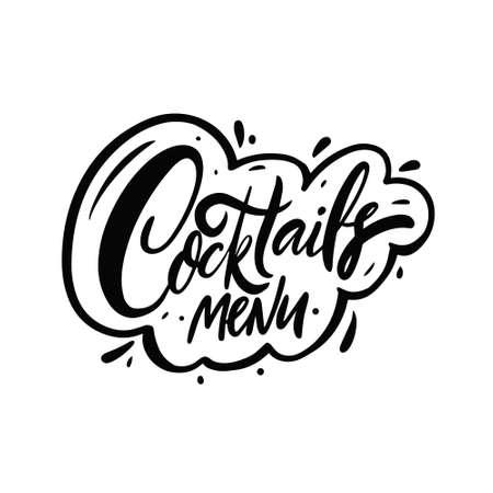 Cocktails menu text phrase. Black color lettering. Vector illustration. Vettoriali