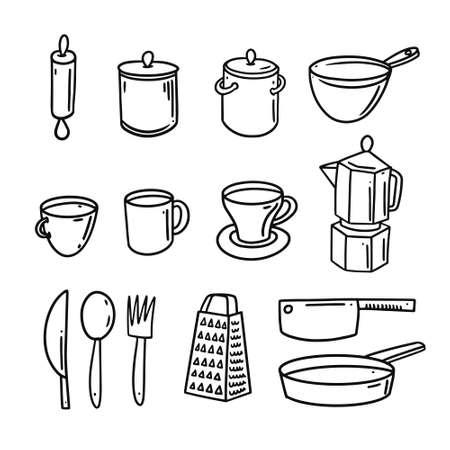 Bakery kitchen hand drawn black color doodle elements set. Vector illustration.