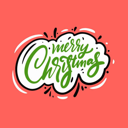 Merry Christmas phrase. Hand drawn lettering phrase. Vector illustration. Vettoriali