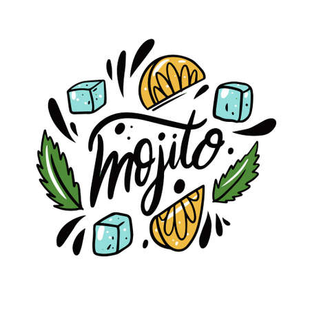 Mojito name text. Black color lettering and colorful vector illustration. Ice cube, lemon and mint.
