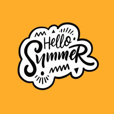 Hello Summer lettering phrase. Hand drawn black color calligraphy. Vector illustration.
