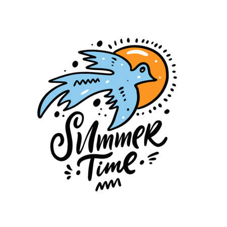 Summer time lettering phrase and blue bird cartoon style. Vector illustration.