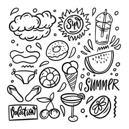 Doodle summer beach elements set. Hand drawn black color outline style. Vettoriali