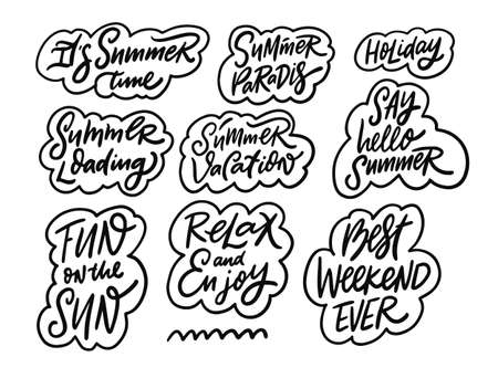 Summer phrases set collection. Hand drawn black color lettering and calligraphy.