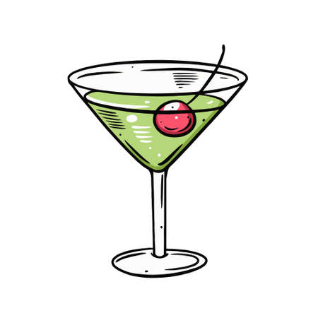 Green margarita cocktail. Hand drawn outline style. Colorful cartoon vector illustration. Vettoriali