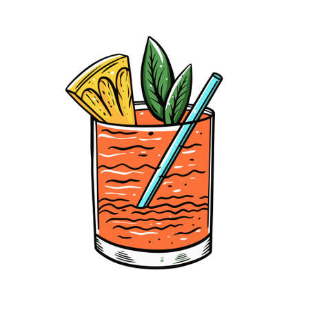 Orange cocktail with pineapple and mint. Hand drawn outline cartoon style. Vettoriali