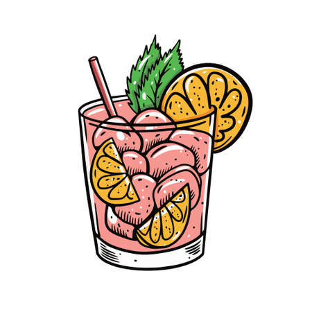 Gin and tonic pink cocktail. Hand drawn line art style. Cartoon vector illustration.