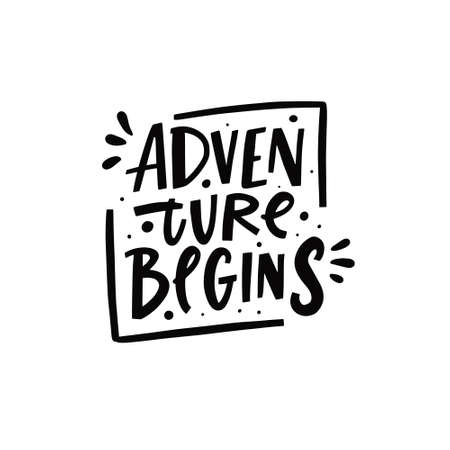 Adventure begins phrase. Hand drawn black color lettering. Modern typography. Vettoriali
