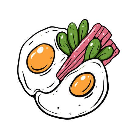 Two fried eggs and bacon. Line art cartoon style. Colorful vector illustration.