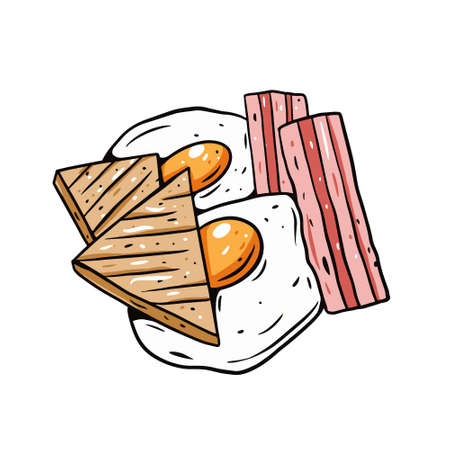 Fried eggs, bacon and toast. Hand drawn colorful vector illustration. Outline cartoon style. Vettoriali