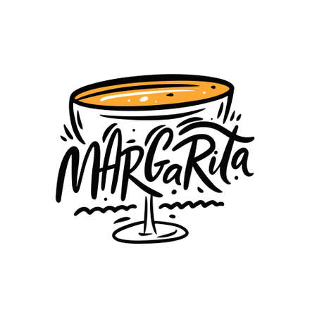 Margarita cocktail text name. Black color lettering. Line art vector illustration. Vettoriali