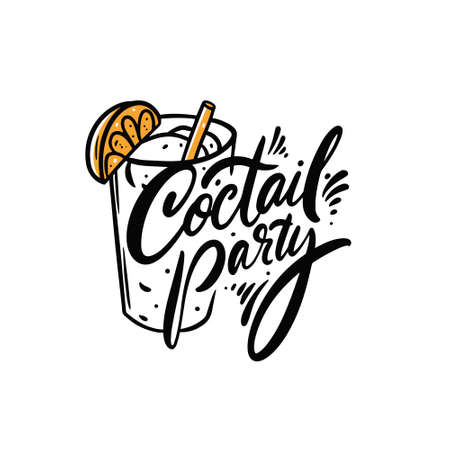 Cocktail party. Hand drawn colorful cartoon vector illustration. Line art and lettering.