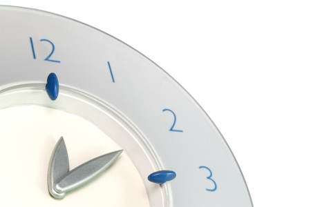 Blue clock minutes and hours photo