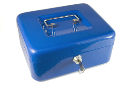 Blue money box and one key