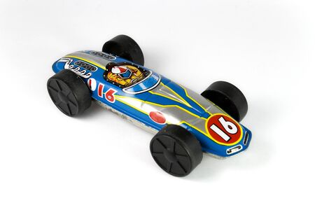 blue tin race car photo