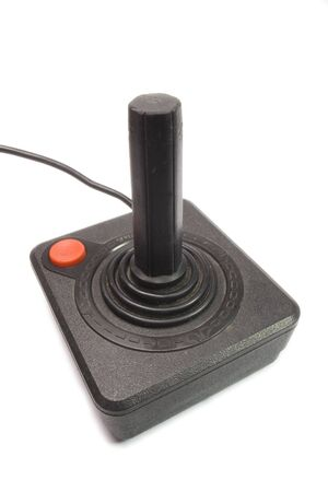 vintage joystick with red boton on white background