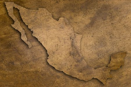map of mexico in vintage copper texture