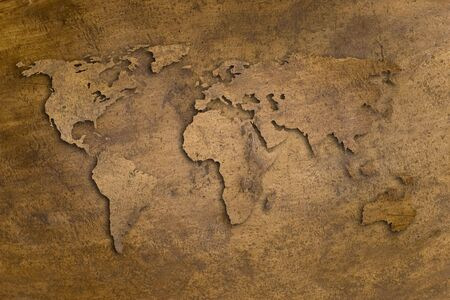 vintage copper texture with world shape and shadows