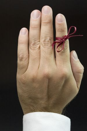 open hand with red ribbon, don't forget Stock Photo - 1934906