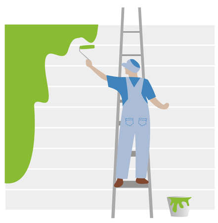 house painter: Painter with blue cloth painting in green color