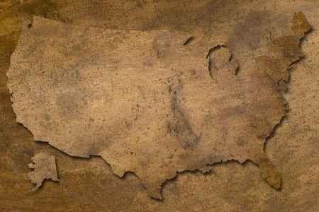 USA kaart vintage koperen textuur ziet eruit als oude