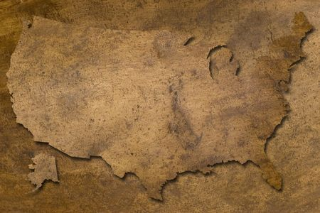 usa map vintage copper texture  looks like old Stock Photo