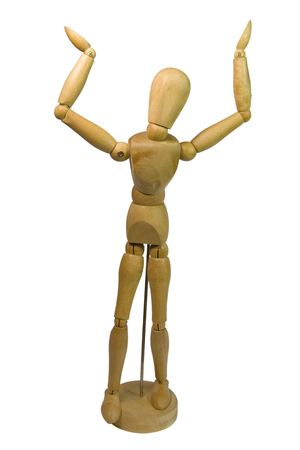 god walking: woode dummie with open arms, like seeing to sky Stock Photo