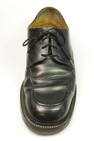 shiny black: right shiny black shoe on white background