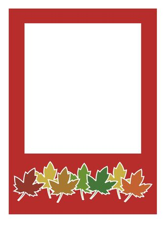 red frame with autumn color leafs in button 免版税图像