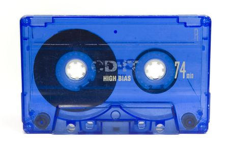decade: blue audio tape from decade of 80s Stock Photo