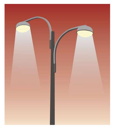 street lamp: two grey street lamppost in red sky