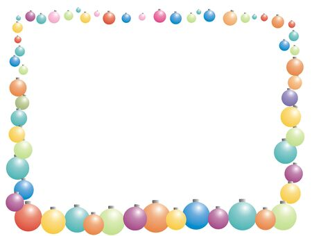 color xmas sphere frame for greeting card photo