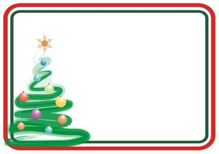 인사말 카드에 대 한 색 크리스마스 트리 프레임
