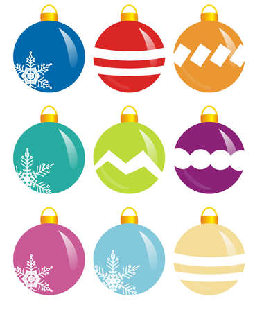 beautify: illlustration of nine colorful design spheres for xmas
