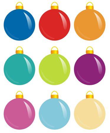 solemn: illlustration of nine colorful design spheres for xmas
