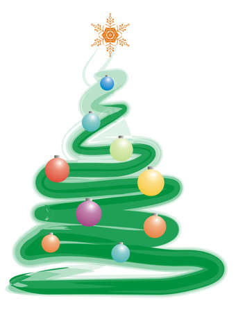 solemn: color xmas tree and spheres for greeting card